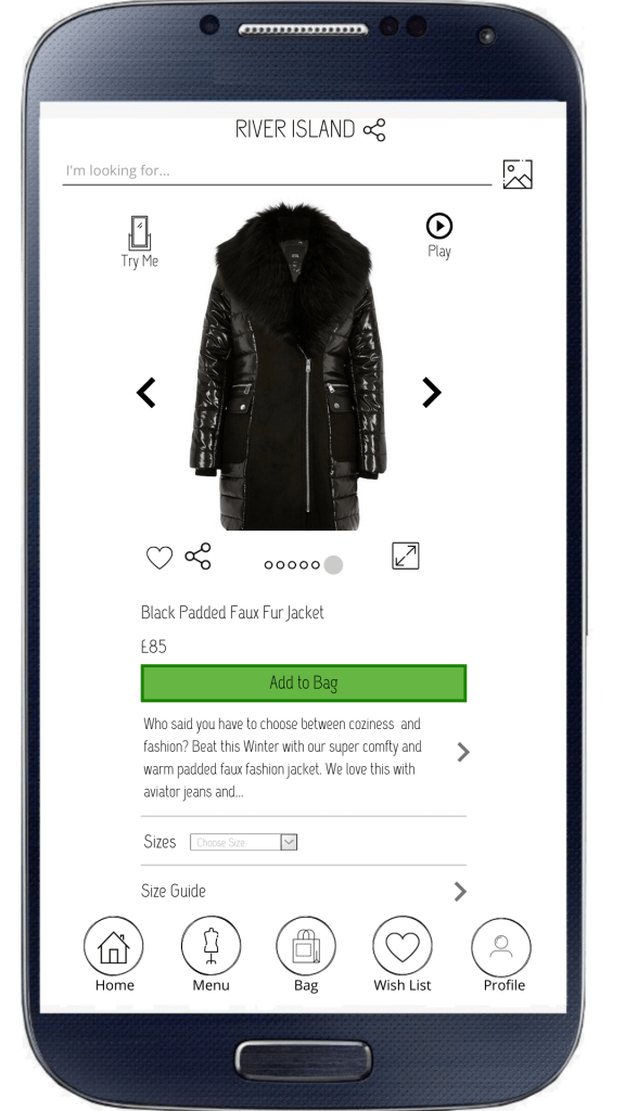 River Island mobile app augmented reality idea
