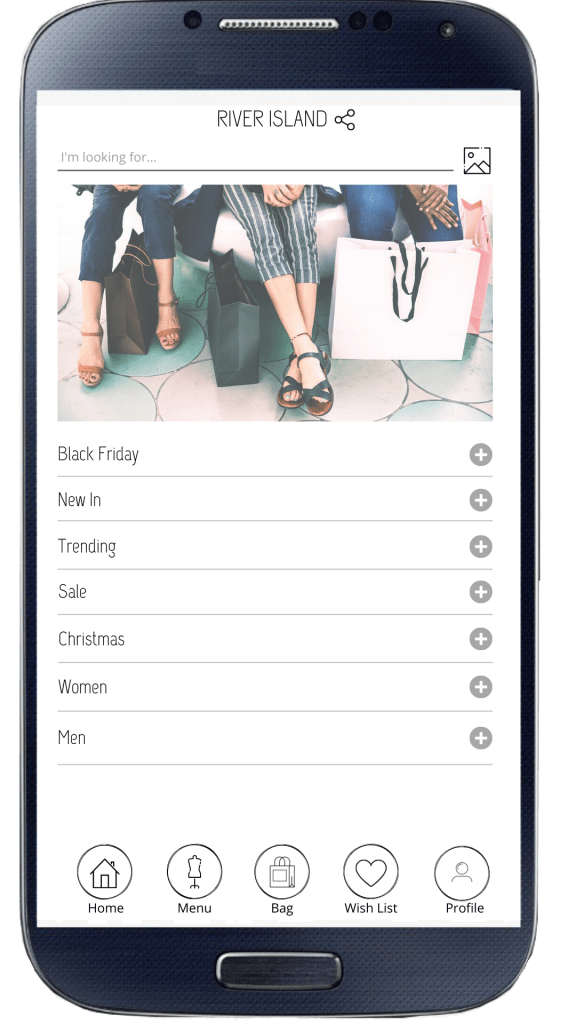 River Island mobile app redesigned menu