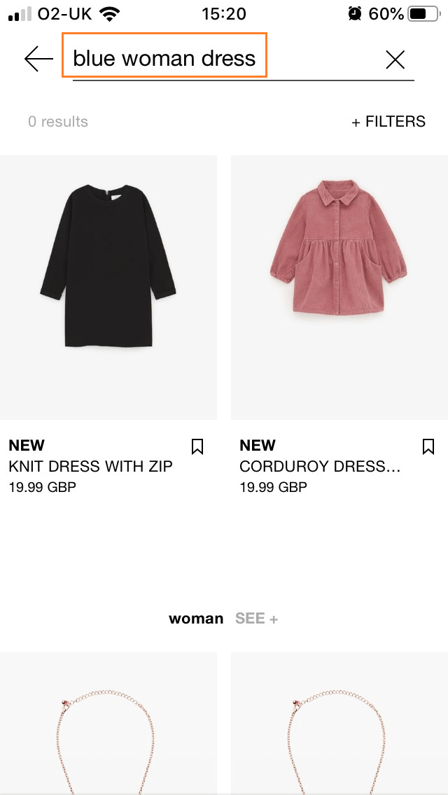 Zara mobile app serching panel
