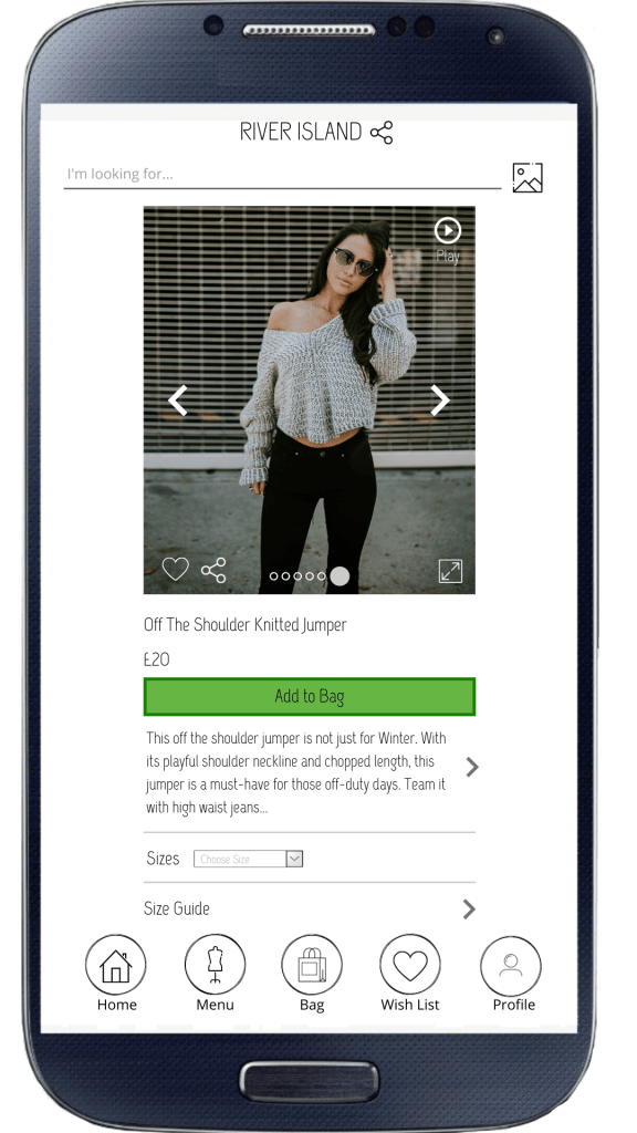 River Island mobile app redesign idea